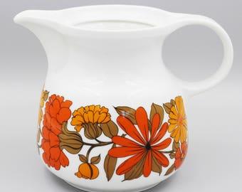 Vintage jug,  vase, porcelain jug  Seltmann Weiden made in W.Germany, 70's design,  floral German porcelain, mid century