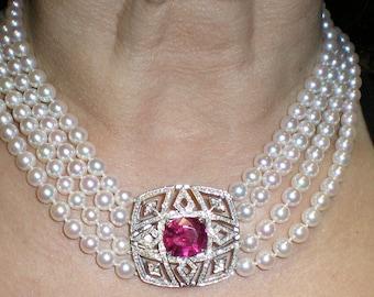 Diamond, Rubellite & Pearl Platimum Necklace