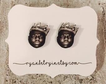 Biggie Smalls Stud Earrings - Notorious BIG - Biggie Earrings - Gangsta Rap - Big Poppa - 1990s - 90s Earrings - Hip Hop Earrings