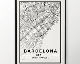 Barcelona City Map Print, Modern Contemporary poster in sizes 50x70 fit for Ikea frame All city available London, New york Paris Madrid Rome