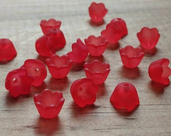Lucite Acrylic Flower Beads, Small Bell Flowers, Matte Red, 24