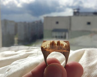 Handmade Ring Wood oak resin epoxy Size: (16,5 mm)