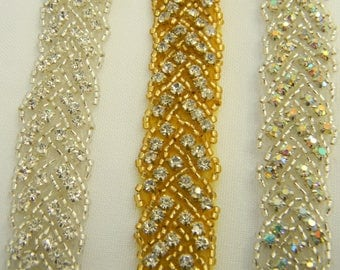 1 yard Rhinestone trim/ Rhinestone Chain/ Formal gown belt/ rhinestone  Swarovski shine Silver /gold, Clear/clear AB #9206