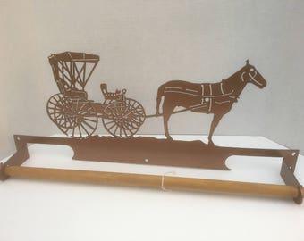Horse Carriege towel rack metal art