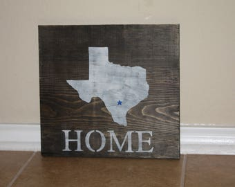 Rustic Texas State and City Wooden Sign