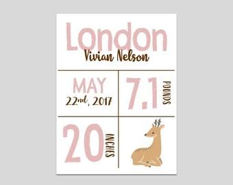 Custom Birth Print- Deer