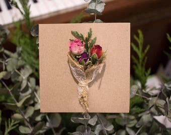 Tri Rose: Dried Flower Card   Flower Card   Real Flower   Mother's Day Card   Wedding Card   Birthday Card   Anniversary Card