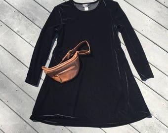 Vintage 90's Black Velvet Long Sleeve Shift Dress