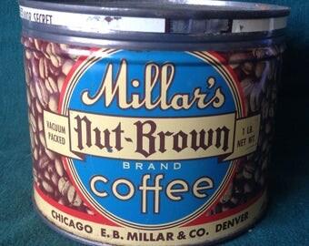Millar's Nut-Brown Brand Coffee Tin - 1 lb Key Wind