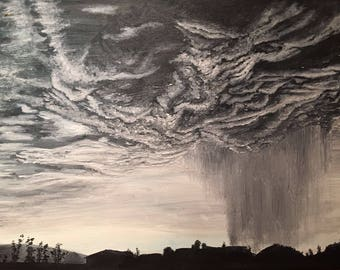 Rain over mersea oil painting