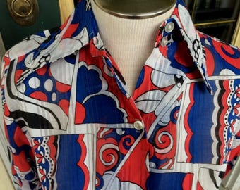 "NOS  Deadstock  MOD, Groovy, Hippie, Hipster  Red white & blue   1970s/1960s cotton blend shirt/blouse/top -- 36"" bust  medium  flower power"