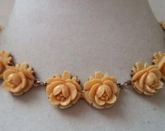 Wonderful Vintage Celluloid Rose Necklace