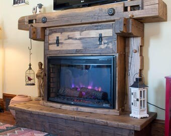 Fireplace, Reclaimed Barn Beam,  Surround with fireplace insert