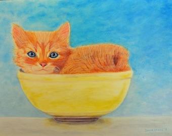 Cat oil painting, handmade