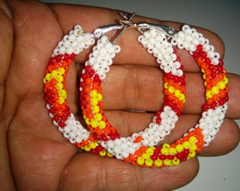 Colorful beaded hoops