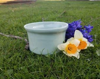 Vintage small light blue ceramic planter // vintage garden // ceramic pot