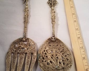 Antique silverware // vintage silverware // made in italy // italian kitchen // ornate cherub fork and spoon