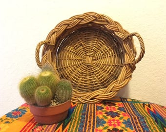 Vintage Wicker Basket Tray