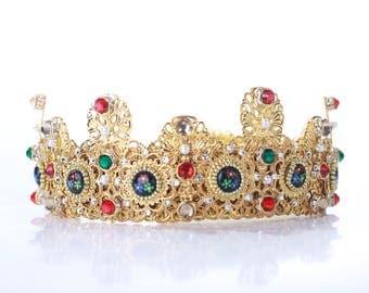 Wedding dolce crown, baroque headband, headpiece, red wedding, gold crown,headdress,high fashion, dolce baroque, gold headband, dolce tiara