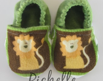 Lion Baby Shoes, Green Orange Brown Baby Shoes, Soft Sole Baby Boy Shoes, Baby Shower Gift