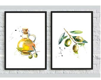 Kitchen olive print 2 set Kitchen Print Kitchen poster Olive decor Watercolor painting Chalkboard kitchen Kitchen Art Print Kitchen wall art