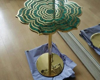 Malachite lotus accent table