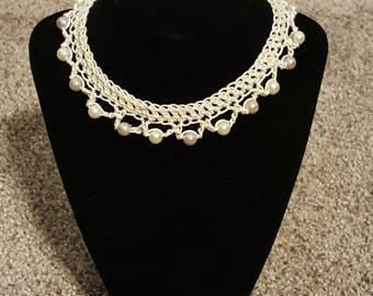 Elegant Crochet Pearl Necklace