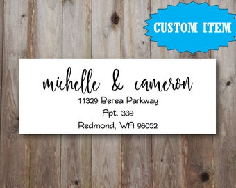 "Custom Printable Return Address Label Design 2.625""x1"" / Handwritten Calligraphy Script / Printable PDF download / 1-2 business days"