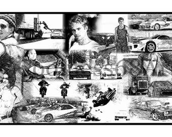 The Fast And The Furious Collage Original Art Print