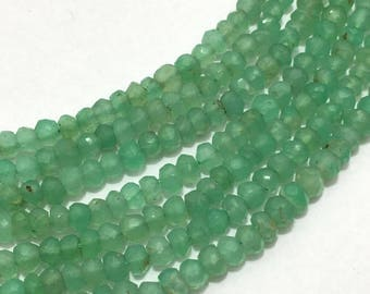 Natural Chrysoprase Micro Faceted Rondelle 3.5mm to 4mm Gemstone Beads, Chrysoprase Beads, Semi Precious Stone Beads, Micro Faceted Rondelle