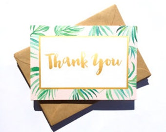 Little Paper Lane- Palm Leaves Thank-You card set