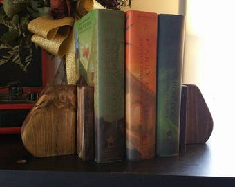 bookends wood dark walnut stained decorative,rustic farmhouse decor,handmade wood bookends.