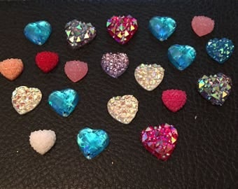 Pack of assorted flat back hearts