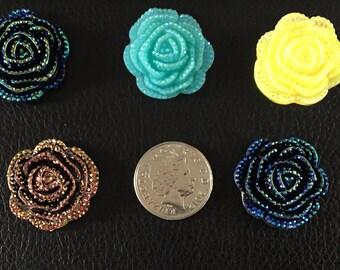 Set of 5 large resin glitter flatback roses