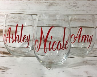 Bridal Party Stemless Wine Glasses - Custom, Personalized