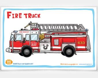 Good Glue Fire Truck Placemat!