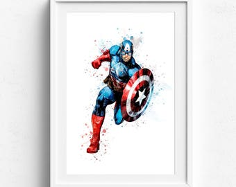 Captain america, captain america art, superhero print, marvel print, superhero art print, captain watercolor, captain america gift printable