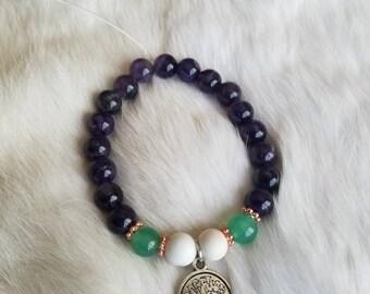 Yggdrasil Tree of Life Amethyst Bracelet with Howlite and Green Aventurine