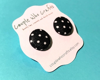 Black and White Polka Dot Fabric Covered Button Earrings Stud Earrings Fabric Jewelry Fabric Button Earrings Button Studs Posts Stud Earring