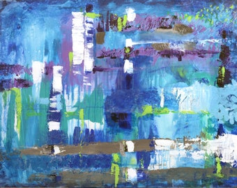 Abstract Acrylic Painting Color reflexions with blue, puple and teal hues