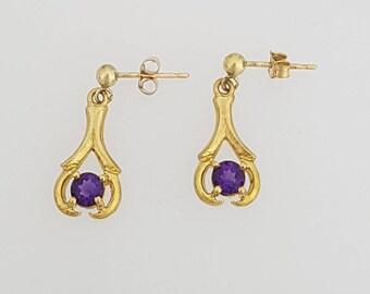 9ct Yellow Gold & Amethyst Drop Earrings