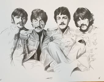 The Beatle's Sgt. Pepper's Black and White Print