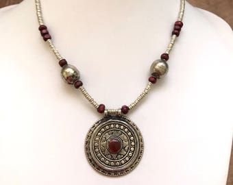 Tribal necklace, bohemian necklace, Afghan vintage pendant necklace, tribal jewelry, antique silver locket, gypsy pendant, boho pendant