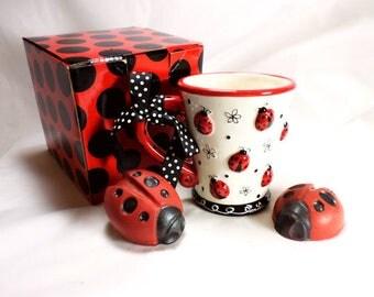 Ladybug Soaps and Embossed Ladybug Mug