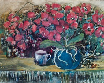 """Red Orchids    Original oil painting, 27.6""""x19.7"""", Cardboard, Without frame."""