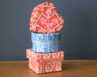 Gift Box collection - recycled Postage Stamp covered
