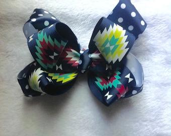Navy and Polka Dot and Aztec Print Hair Bow