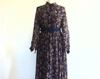 Navy Blue Floral Motif Long Sleeve Dress