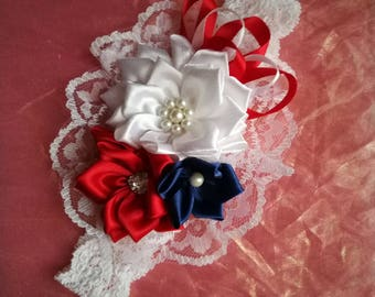 Pretty lace headband red white & navy ribbon flowers pearl  and diamante trim