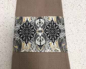 Taupe decorative kitchen towels